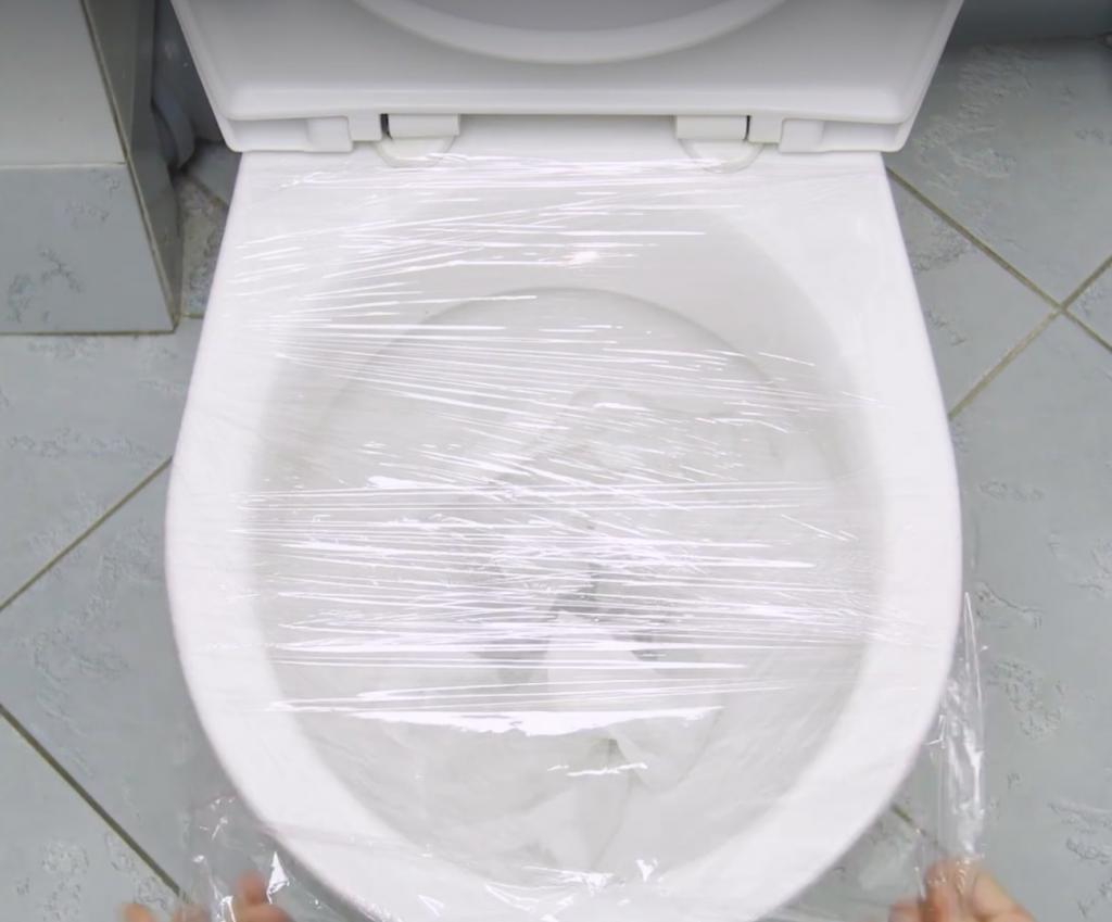 Image result for plastic wrap toilet