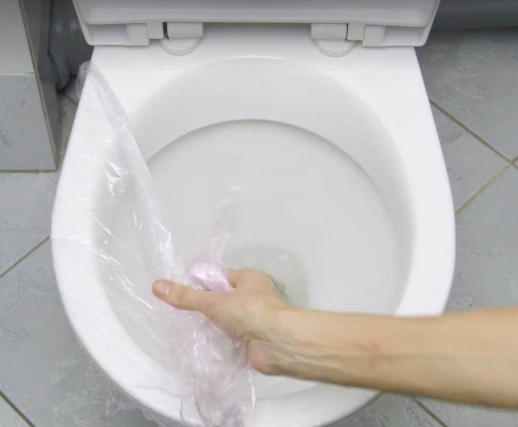 She Covers Her Toilet Bowl With Saran Wrap And She Flushes