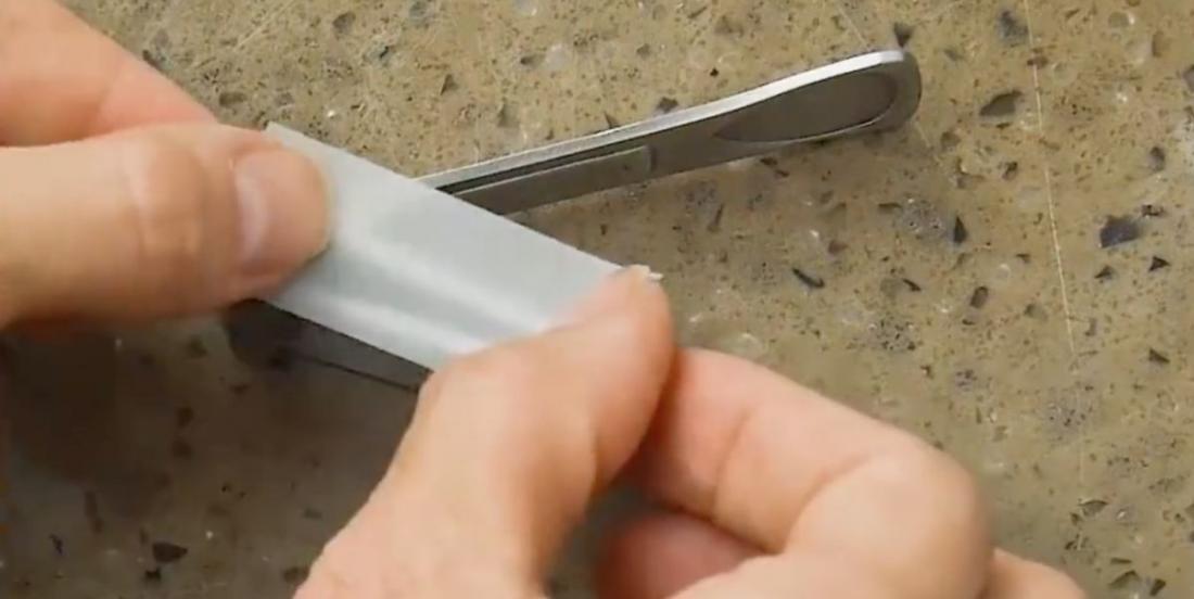She sticks duct tape on a nail clipper, she had a brilliant idea!