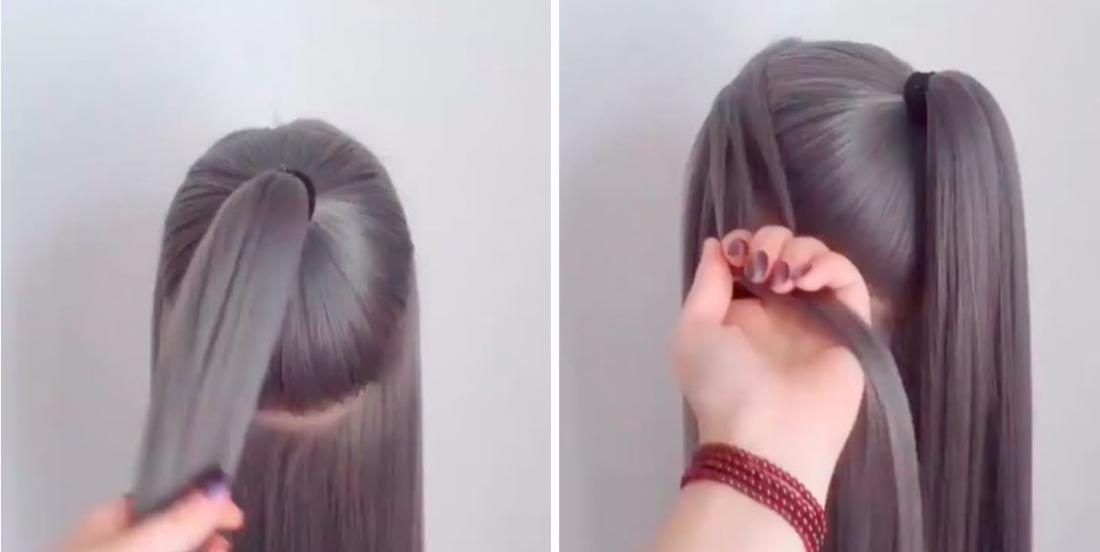 She does a ponytail and takes a few strands of hair to create a beautiful hairstyle