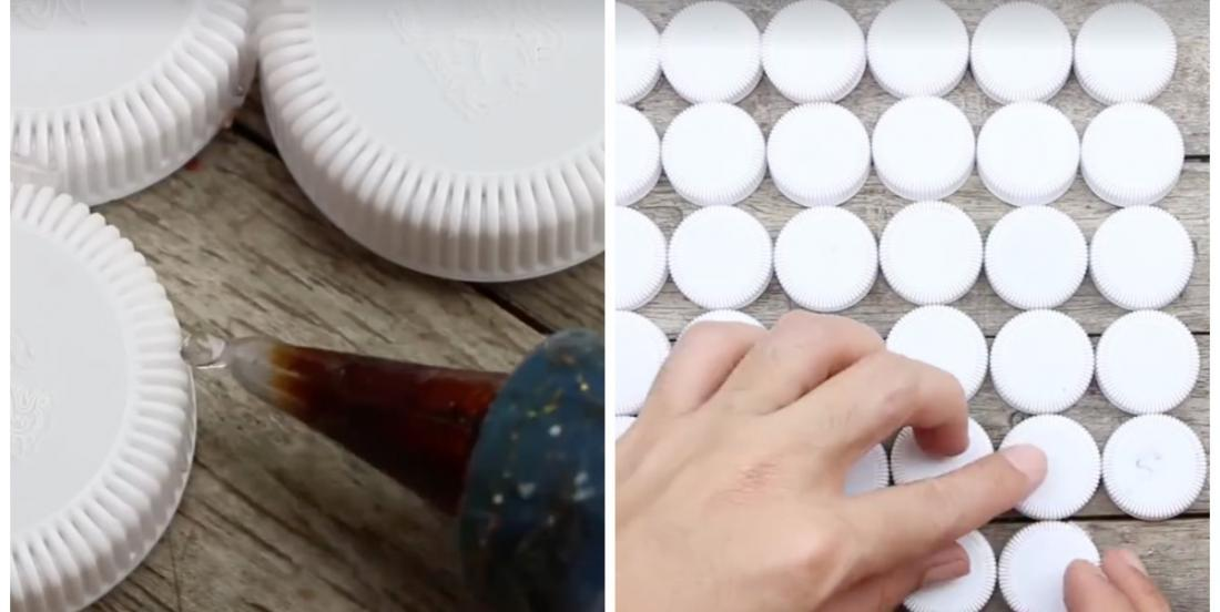 She sticks dozens of plastic caps together and when she finishes, we are all amazed!