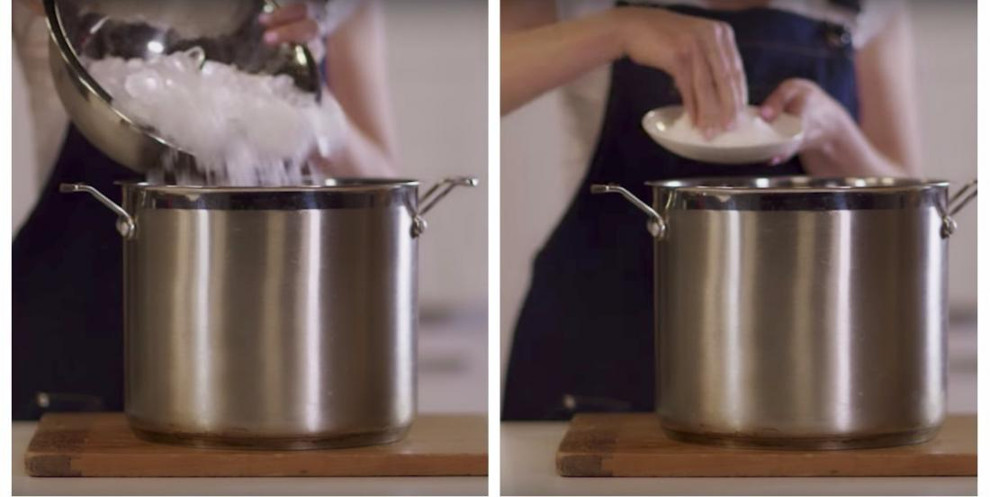 She pours ice and salt into a pot: her brilliant trick saves the party at the last minute!