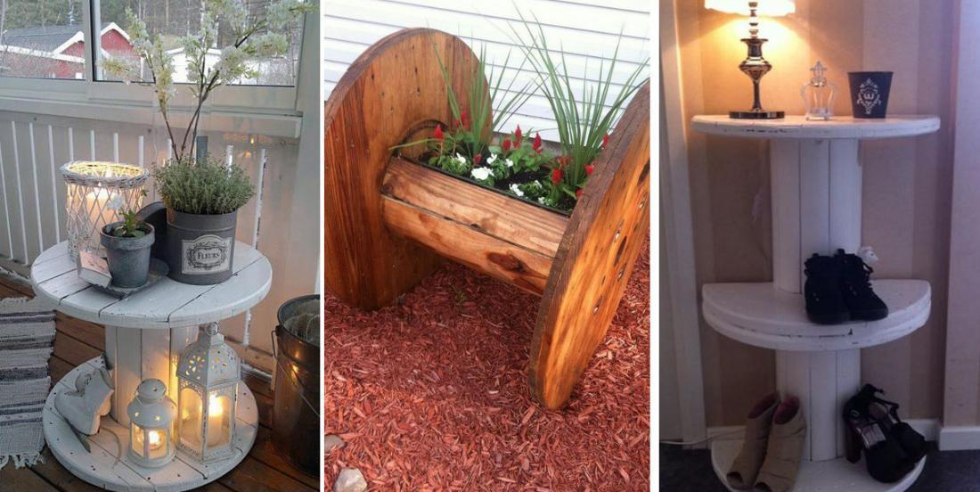 An old electric wire coil becomes a decoration accessory! 20 inspirational ideas to see!