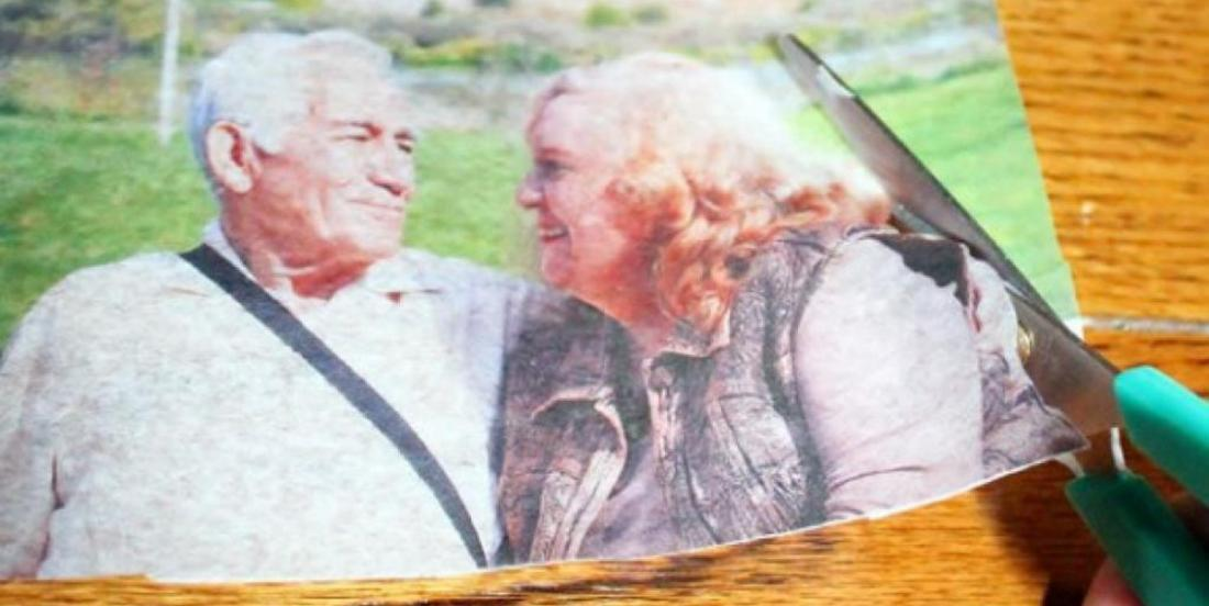 She cuts a photo of her parents! She makes a lovely gift for them!