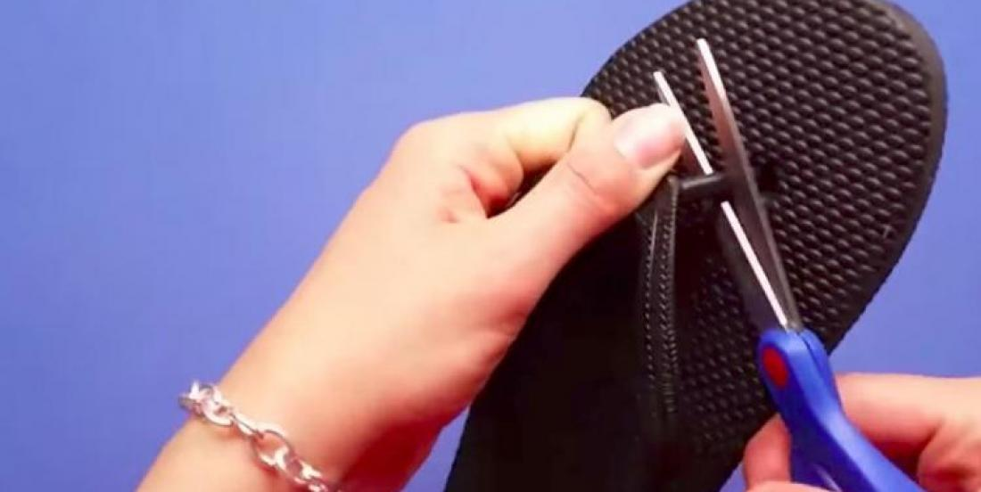 She gets flip flop at $1.99 and cut the strap between toes! I would like to have had that idea!