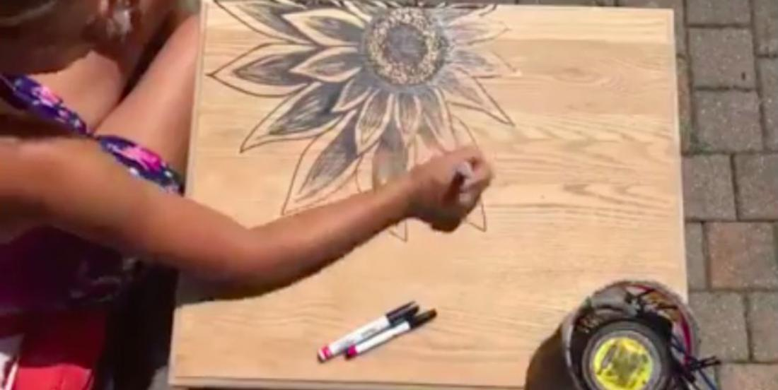 She draws a flower on a coffee table! But this is the next step that will make all the difference in this incredible transformation!