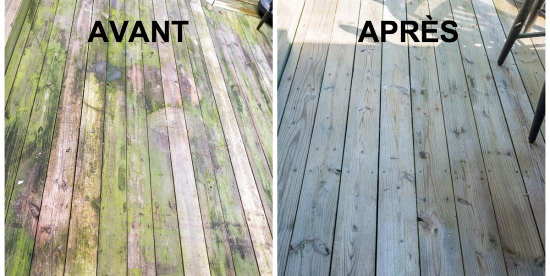 The product he used to clean the wood of his courtyard makes miracle!