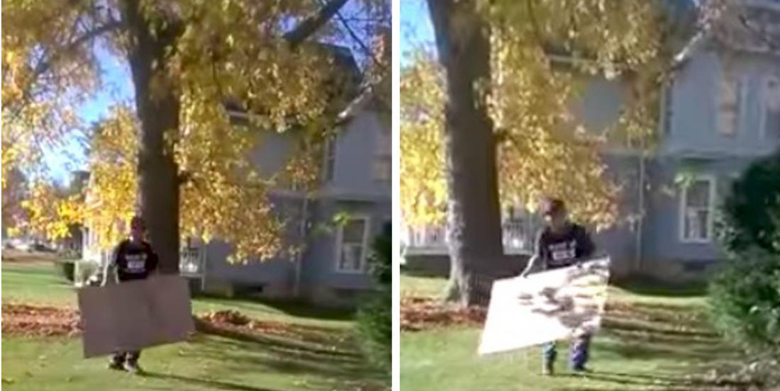 He tells his wife that he goes outside to work ! When she sees him running around with a cardboard box, she takes her camera!