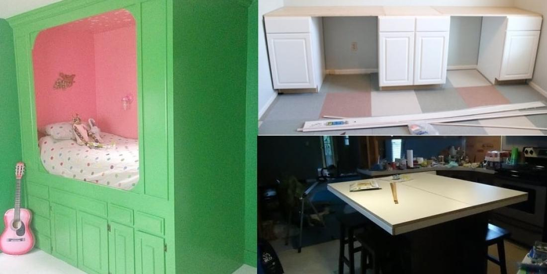 Recycle old kitchen cabinets for the following projects!