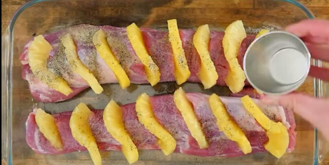 She inserts slices of pineapple into her pork tenderloin, then she adds something else and it's absolutely delicious!