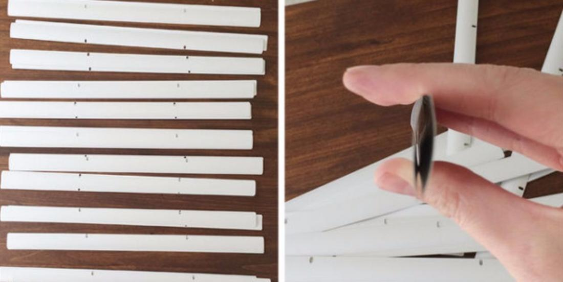 She removes the strings from a horizontal blind and makes a beautiful decoration!