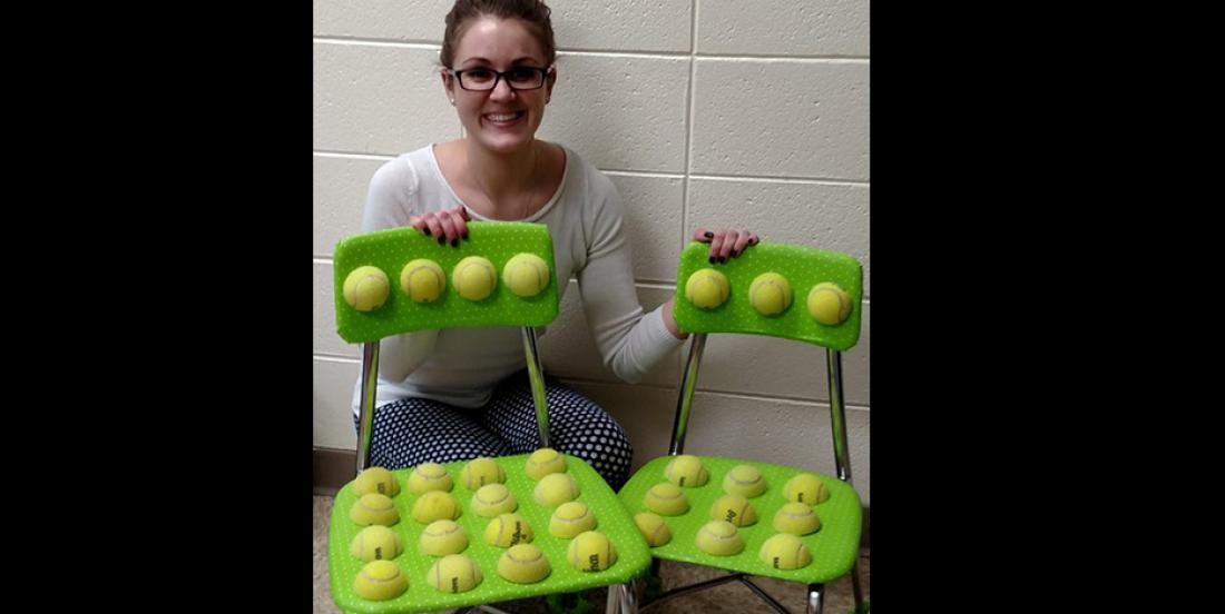 By gluing tennis balls on a chair, she changes the lives of children who need help!