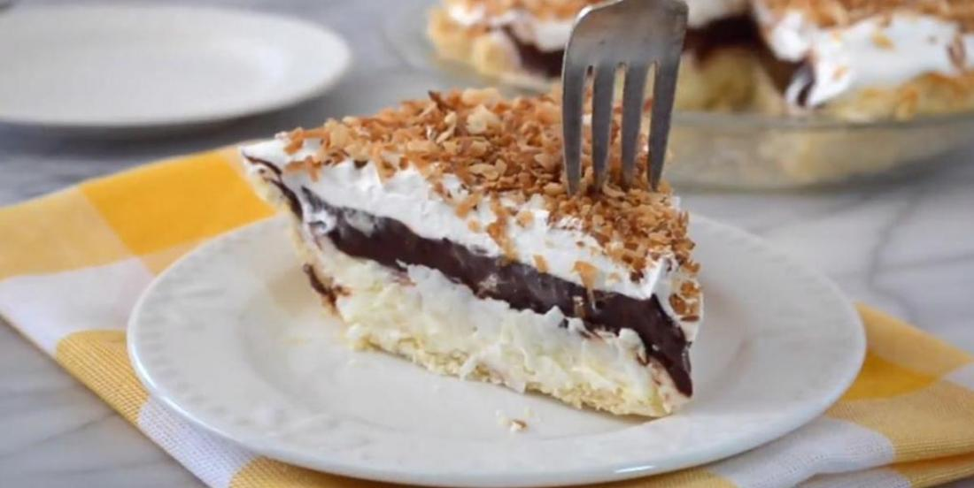 A easy delightful 15 minute bake chocolate and coconut pie