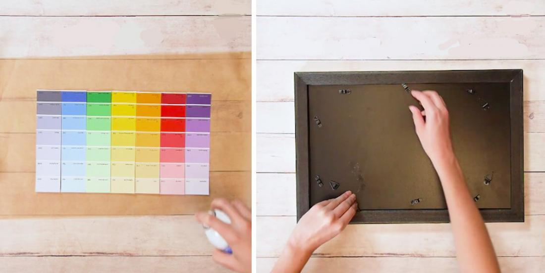 She sticks her paint samples together and places them in a frame! This is a very good idea!