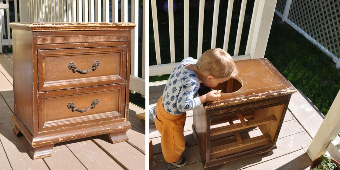 She paid this bedside table $5 and she didn't hesitate to pierce the top of it! Her son is so happy when he sees the result!