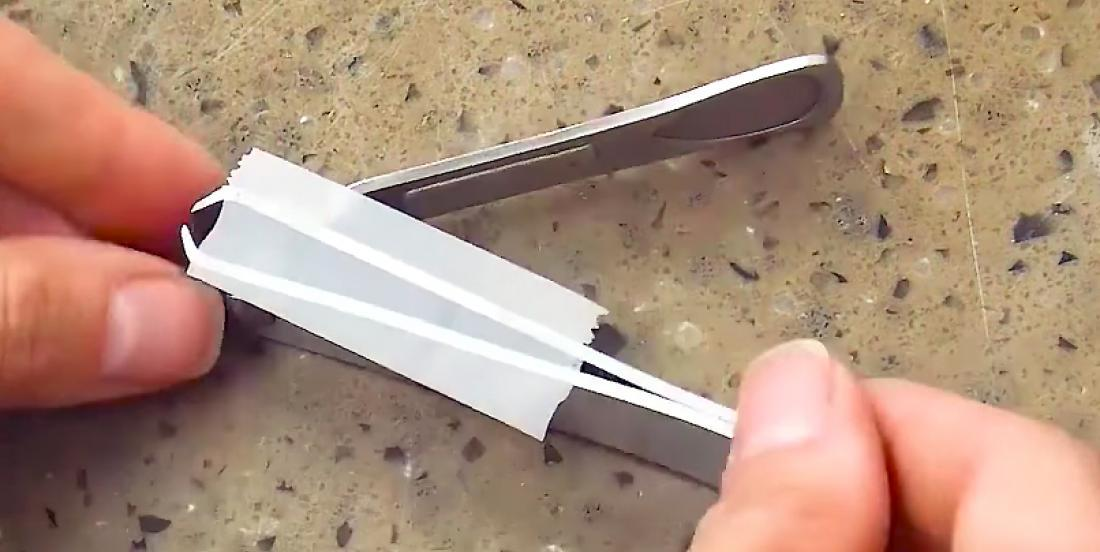 She sticks tape on her nail clippers ... This is awesome!