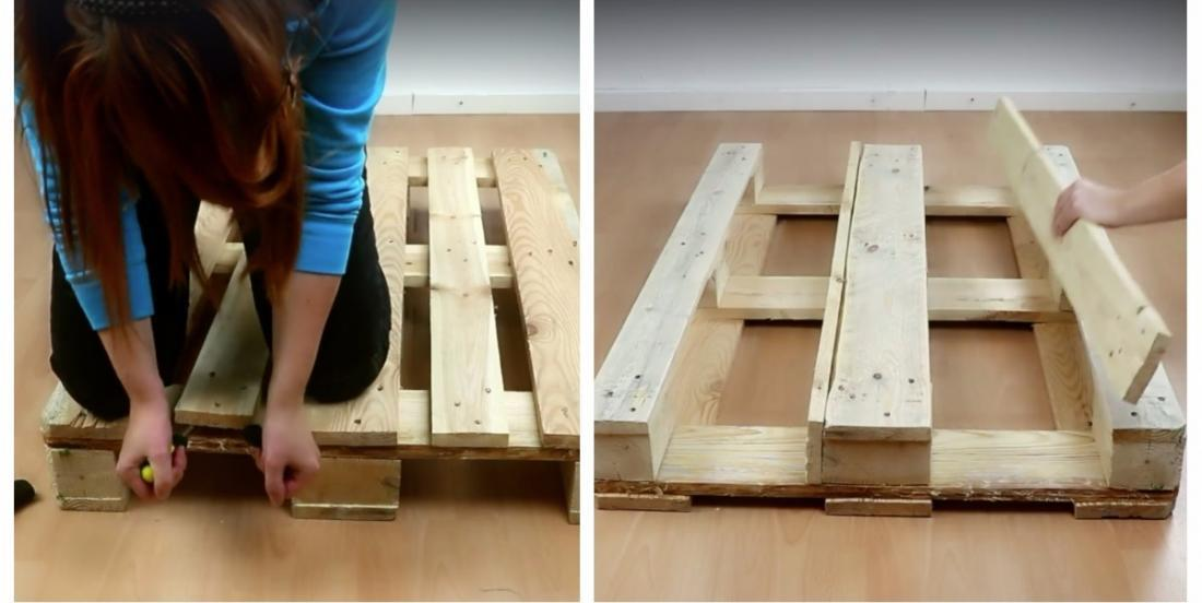 She removes 2 boards from a pallet and by nailing them to another part, she builds a stunning planter!