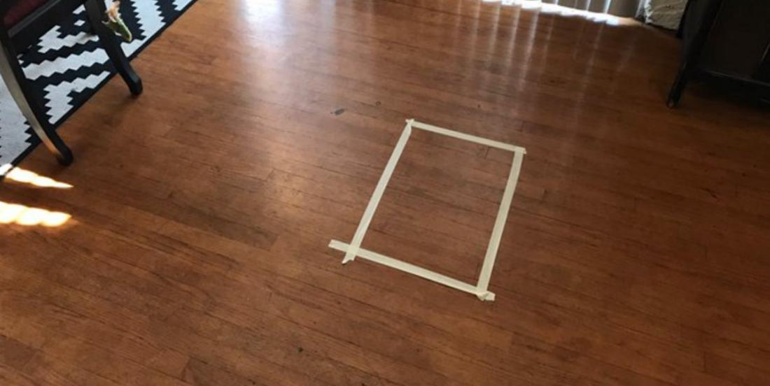 She put some tape on her floor. A few minutes later, a really strange phenomenon occurs!