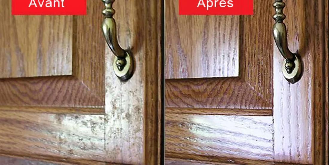 Remove the greasy film from your wooden cabinet doors in minutes!
