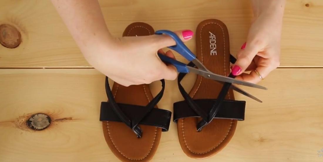 As soon as she comes back from the shop, she cuts out her sandals. What she does next is fabulous!