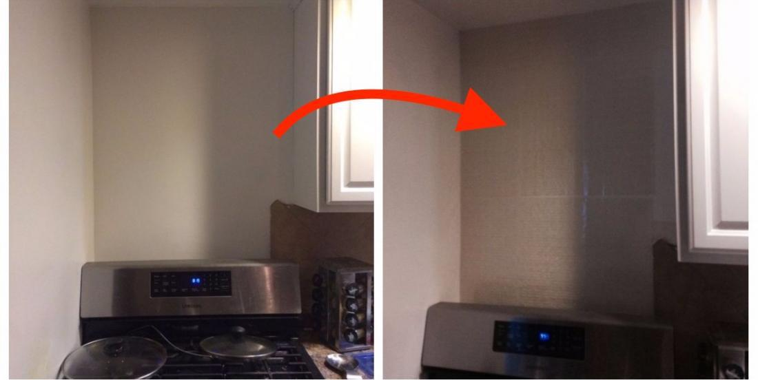 What she uses to cover the wall behind her stove is surprising, but the result is fantastic!
