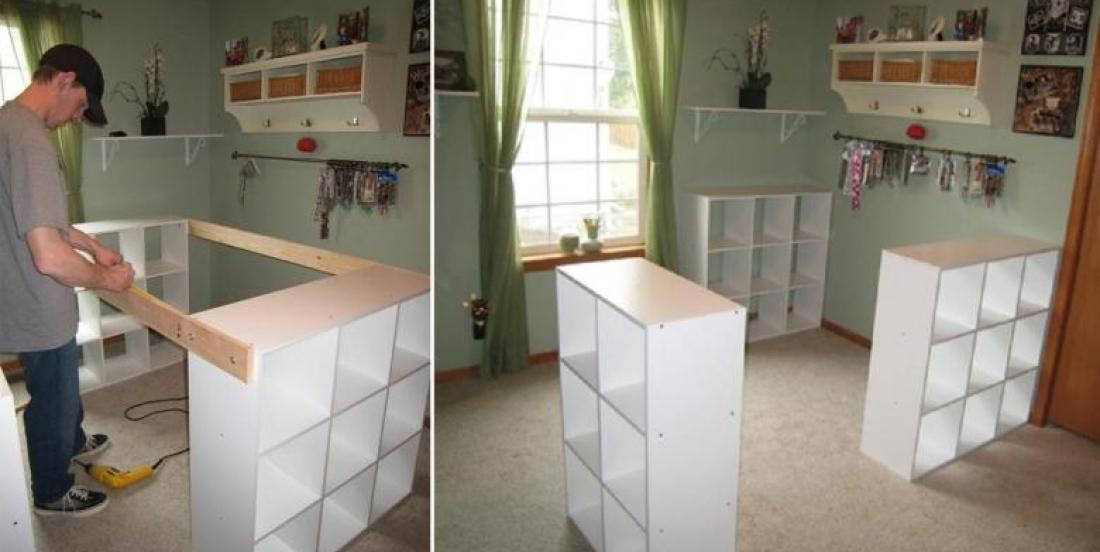 He assembles 3 Ikea shelves with a board for his wife. The result? We all DREAM of it!