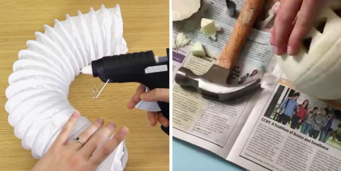 She gets a piece of stretch pipe! With some tools, she realizes 7 awesome decorations!