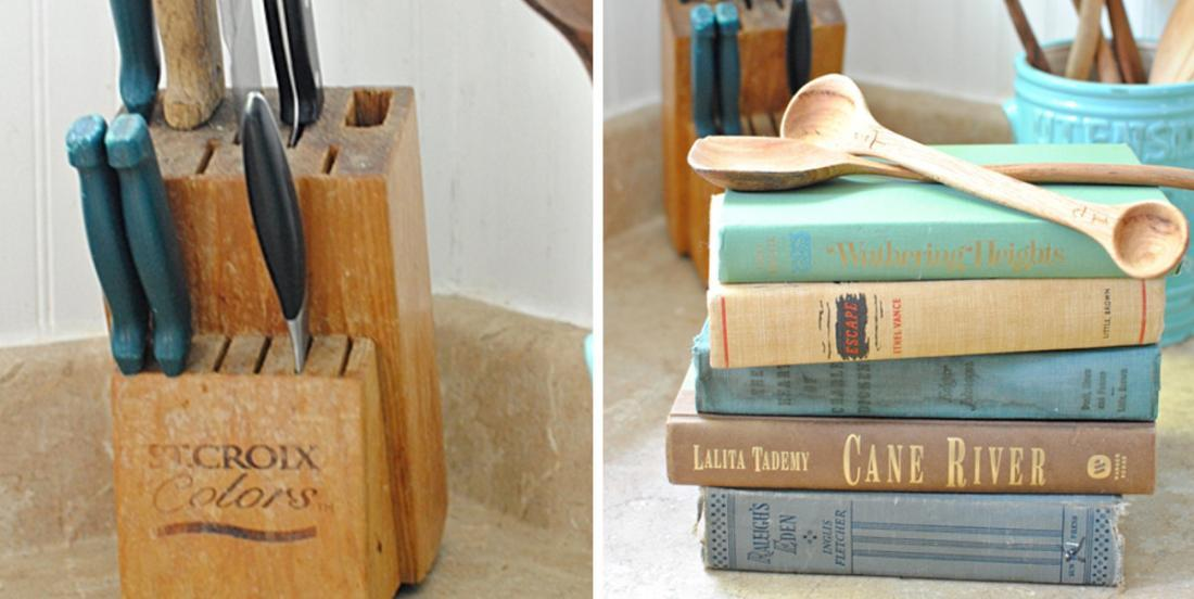 Her knife block was so worn out ... She had a great idea and stacked some old books! Very clever!