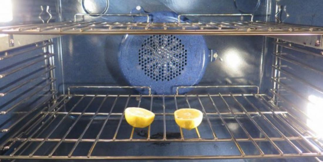 She places two halves of lemon in her oven. I did not know this trick, but it's absolutely brilliant!