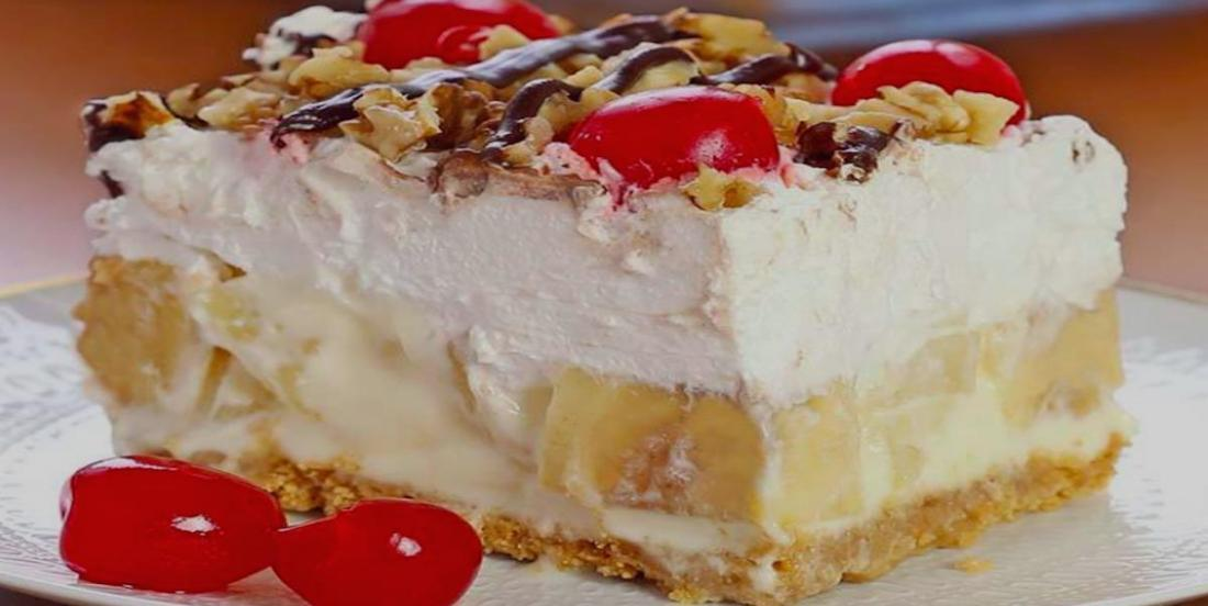 A no-bake banana split cake recipe