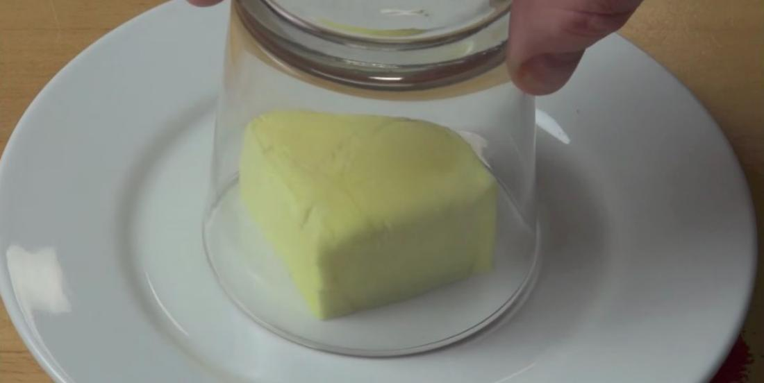 The reason he puts a glass over butter is absolutely amazing! This tips is awesome!