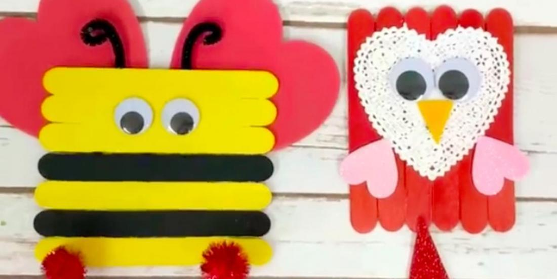 Here are 6 Valentine's Day crafts to do with wooden sticks (Popsicle sticks)