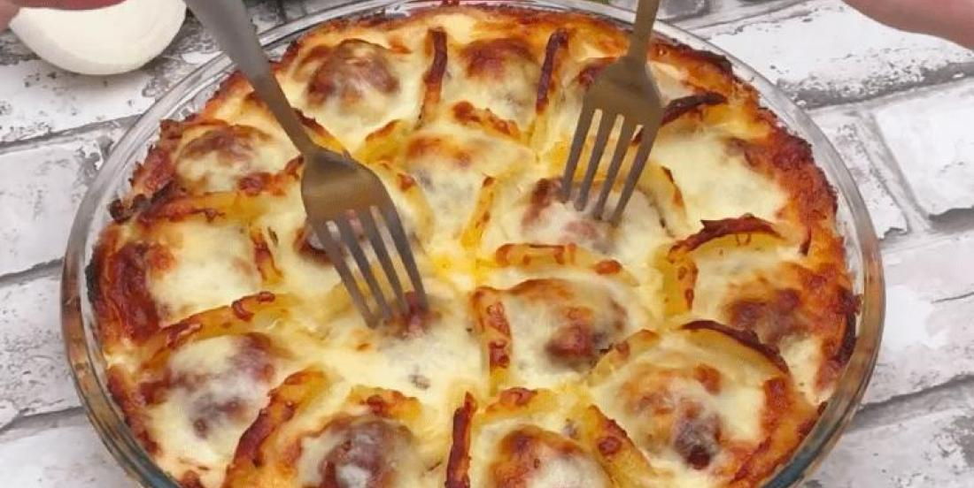 In a dish, she arranges slices of boiled potatoes, meatballs and cheese to create a French dish