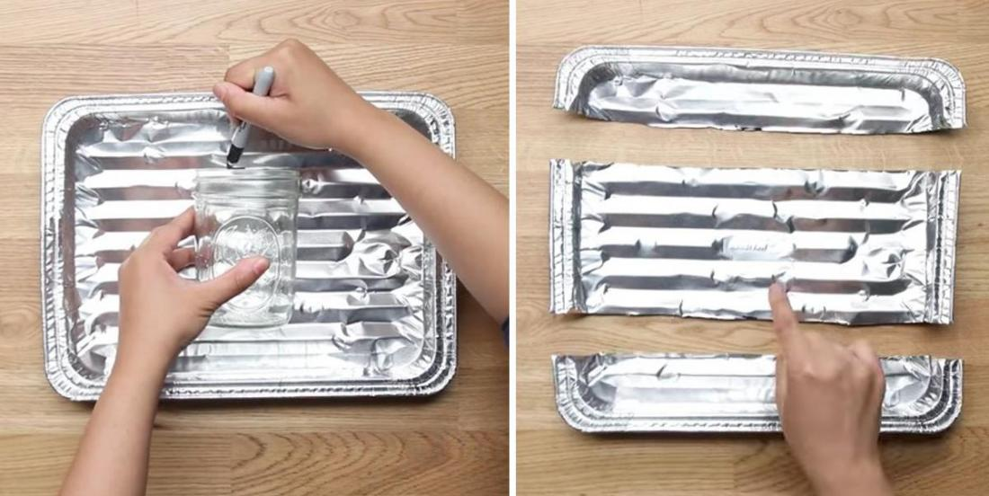 She places a Mason jar on an aluminum baking tray! In 15 minutes she realizes a fun and colorful decoration !!