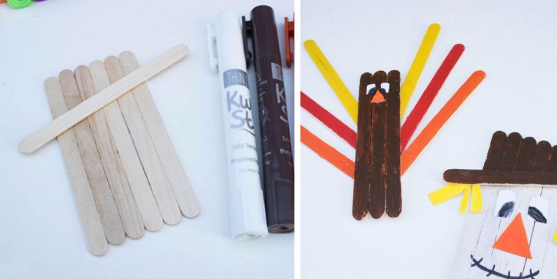 Beautiful autumn crafts to make using coffee stir sticks