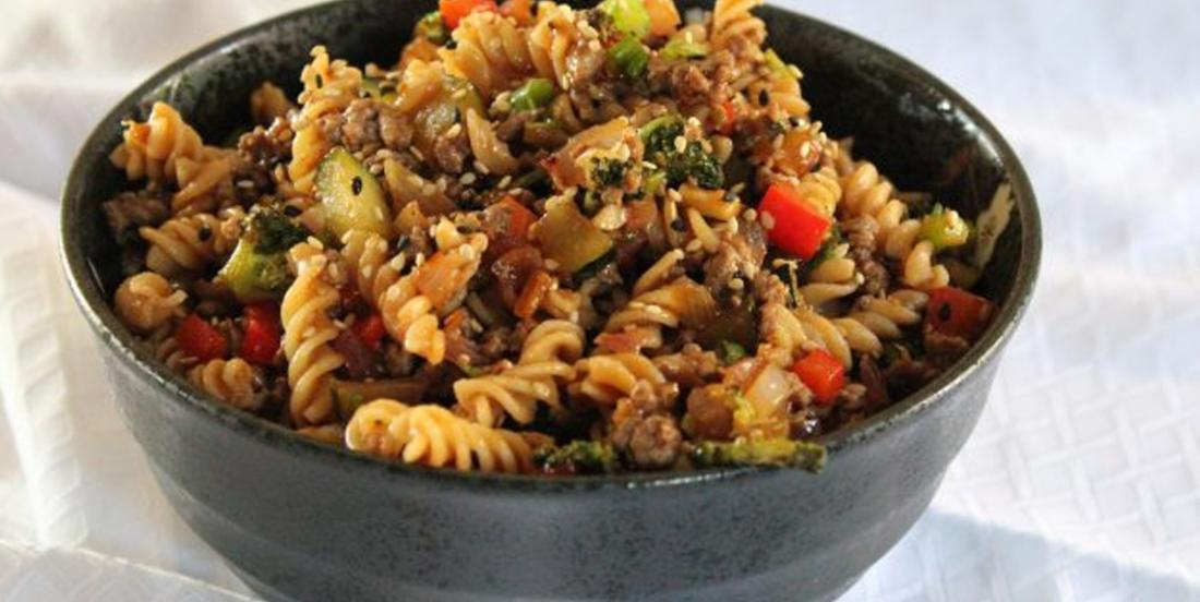 Fusilli pasta and Asian beef salad recipe, this is so delicious!