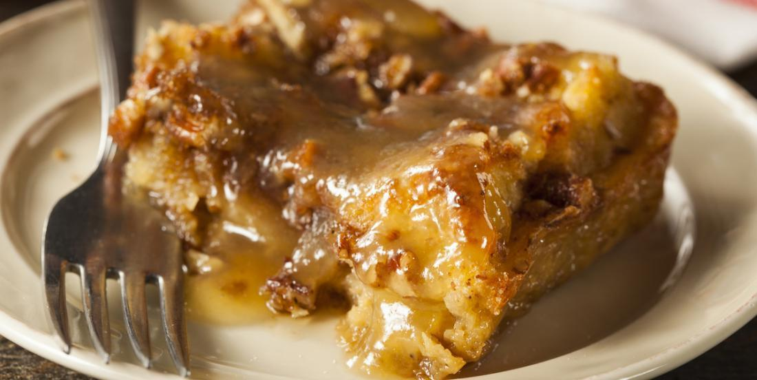 Bread pudding with apple pie and caramel, it's almost too good!