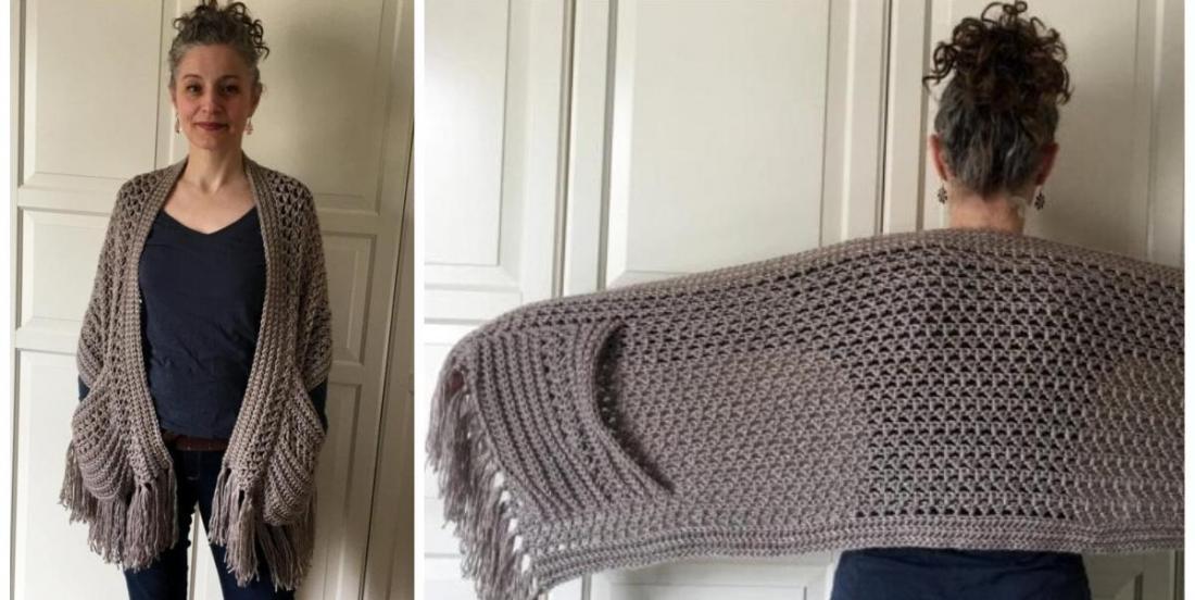 A very cute and useful crochet project: boho shawl.