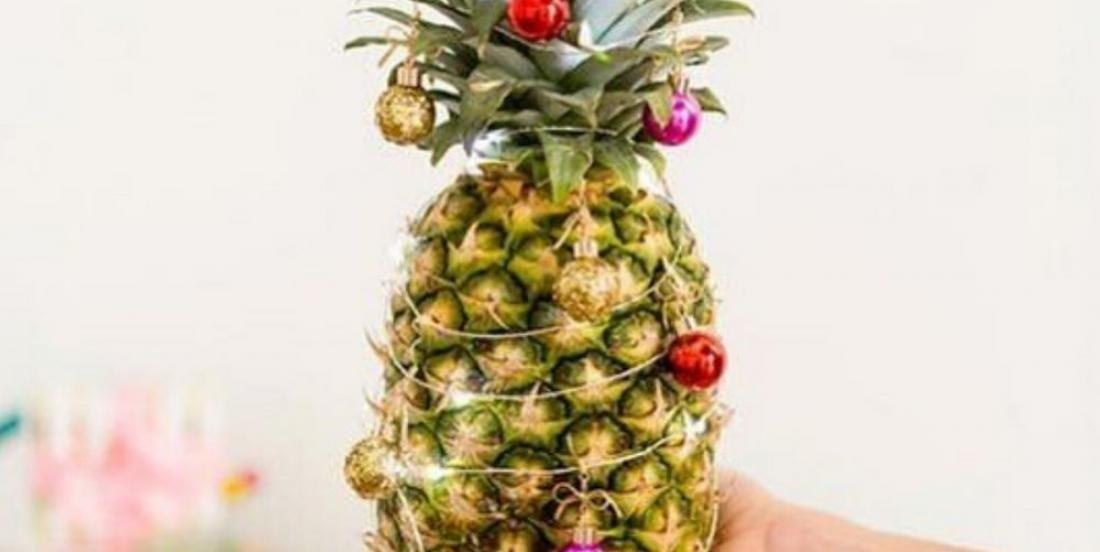 "If you still didn't set up your Christmas tree, try making a ""Christmas pineapple""."