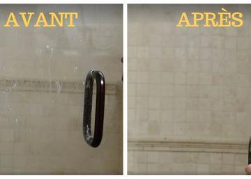 Her method to clean the shower door is as impressive as it is effective!