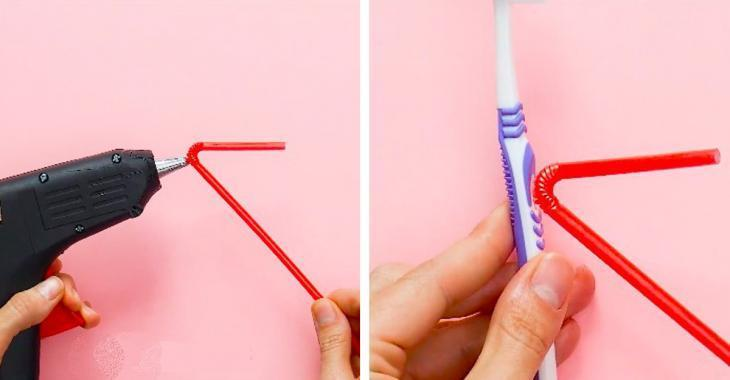 By sticking a straw on her toothbrush, she creates this accessory we all want!