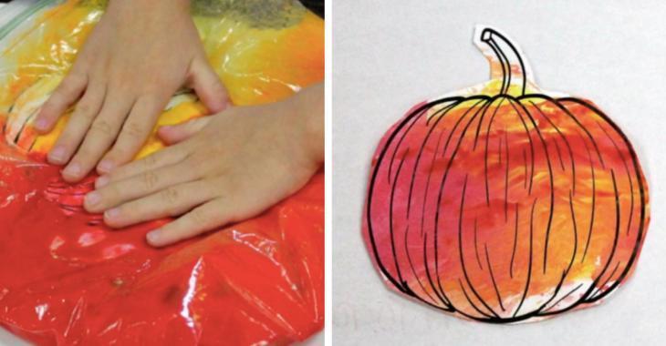 No-mess pumpkin theme painting workshop