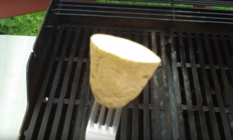 He cuts a potato in half and stings it with a fork. His BBQ tip solves a problem you probably have!